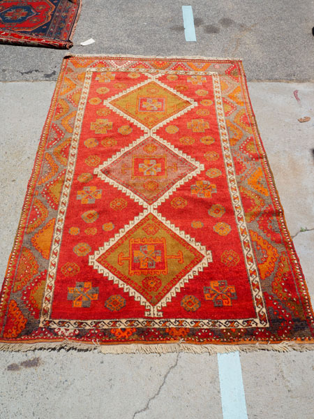Hand knotted wool on wool Turkish carpet from Marash, approximately 90 years old