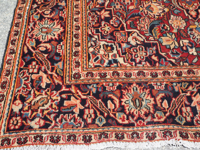 Hand knotted wool on cotton Persian carpet from Keshan, approximately 60 years old