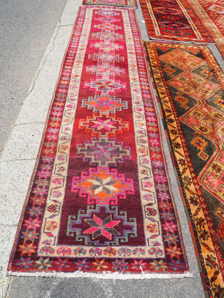 Hand knotted wool on wool Iraqi Herki runner, approximately 40 - 50 years old