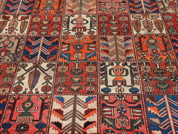 Hand knotted wool on wool Persian carpet Bakhtiari garden design, approximately 80 years old