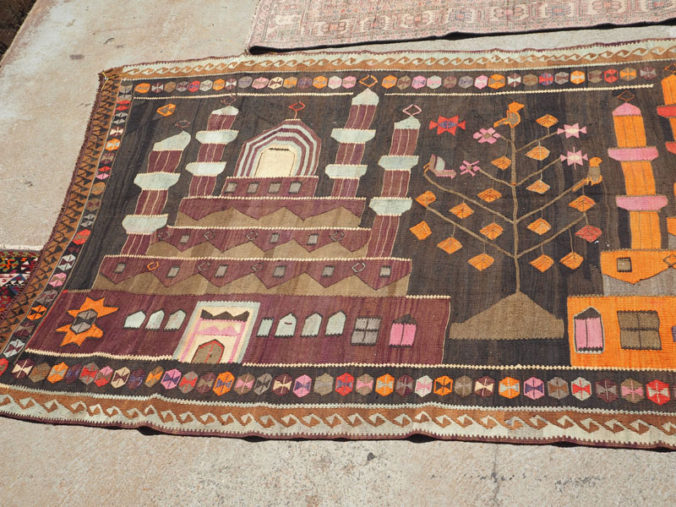 Hand woven wool on wool Turkish Kilim from Kars, approximately 30 - 40 years old