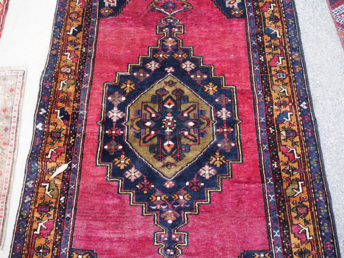 Double knotted hand made wool on wool Turkish carpet from Yahyali, approximately 10 years old