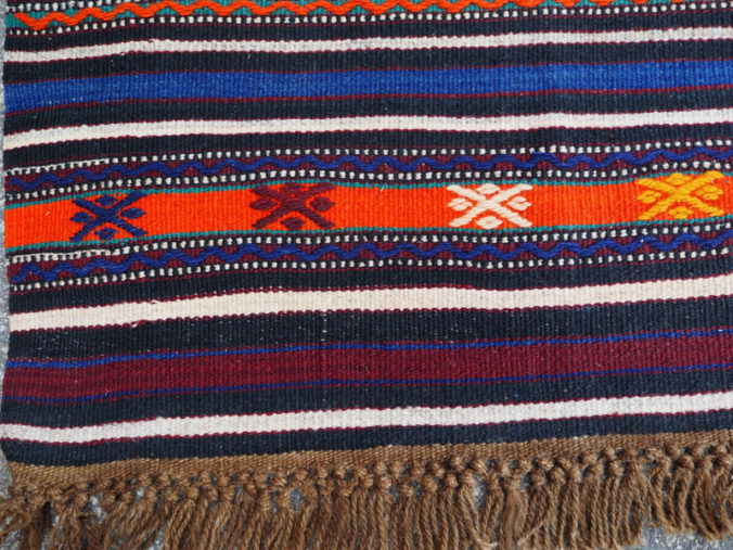 Hand made wool on wool embroidered Turkish Kilim 'Cimim' from Balekisir, approximately 50 year