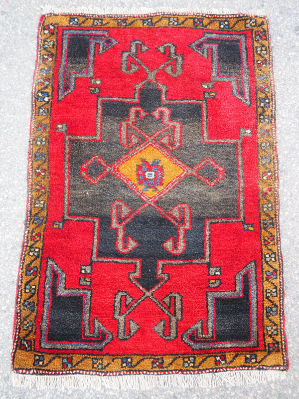 Double knotted hand made wool on wool Turkish carpet from Denizle, approximately 40 years old