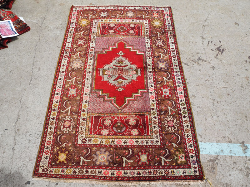 Hand knotted wool on wool Turkish carpet from Kirsehir, approximately 50 years old