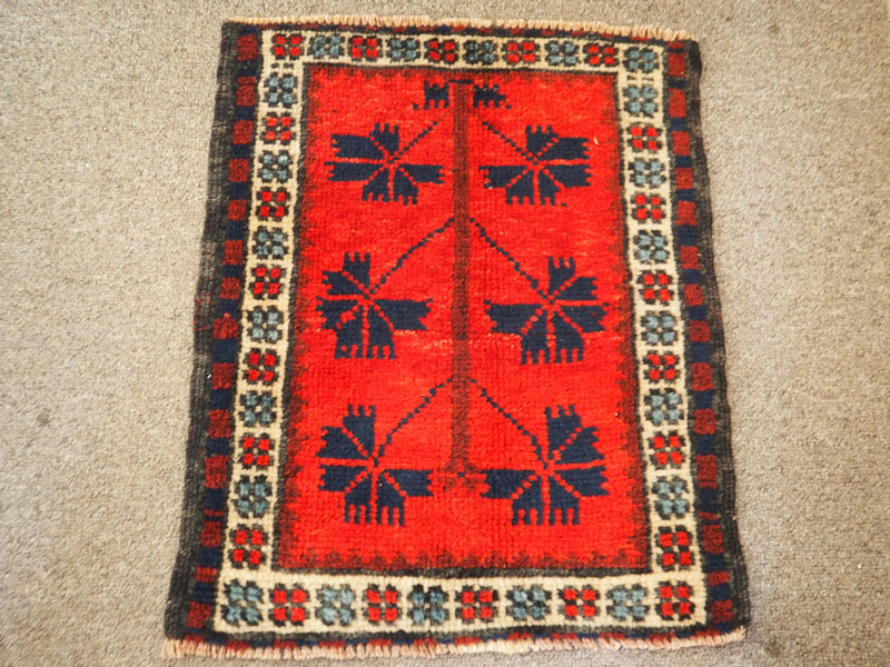 Small hand knotted wool on wool table mat from Bergama, approximately 40 years old