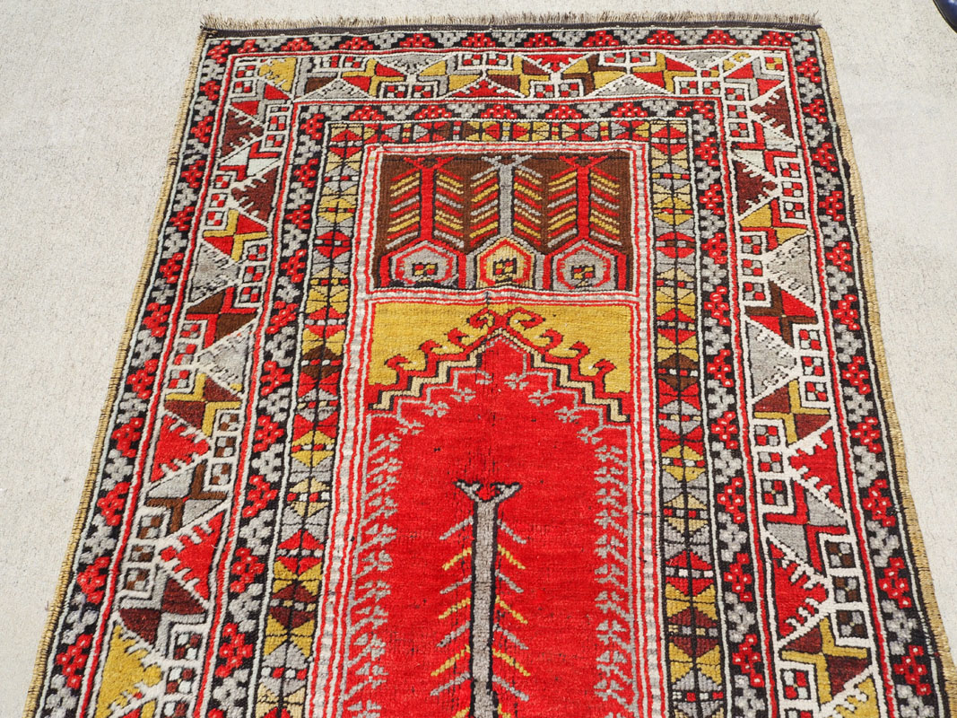 finely knotted wool on wool Turkish carpet from Karaman, approximately 100 years old