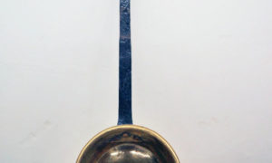 Brass, iron handled french long handled pan