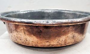 Ottoman period 19th century Tinned copper pan with cast brass handles