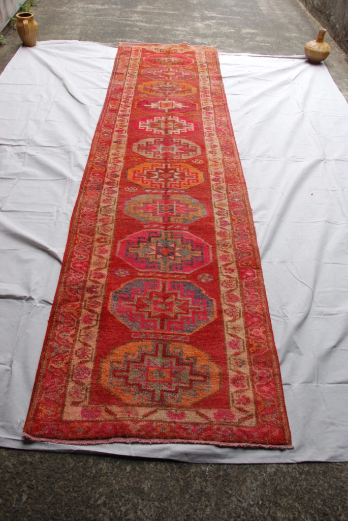 Hand knotted wool on wool Iraqi  Kurdish Herki tribe runner approximately 40-50 years old 3.63 x 0.93 $1,895