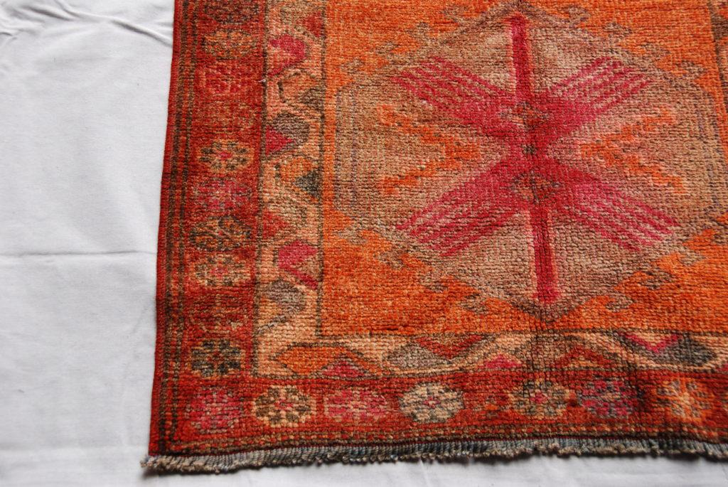 Wool on wool hand knotted Iraqi Kurdish Herki tribe runner 60 years old 3.64 x 0.84 $1,895.00