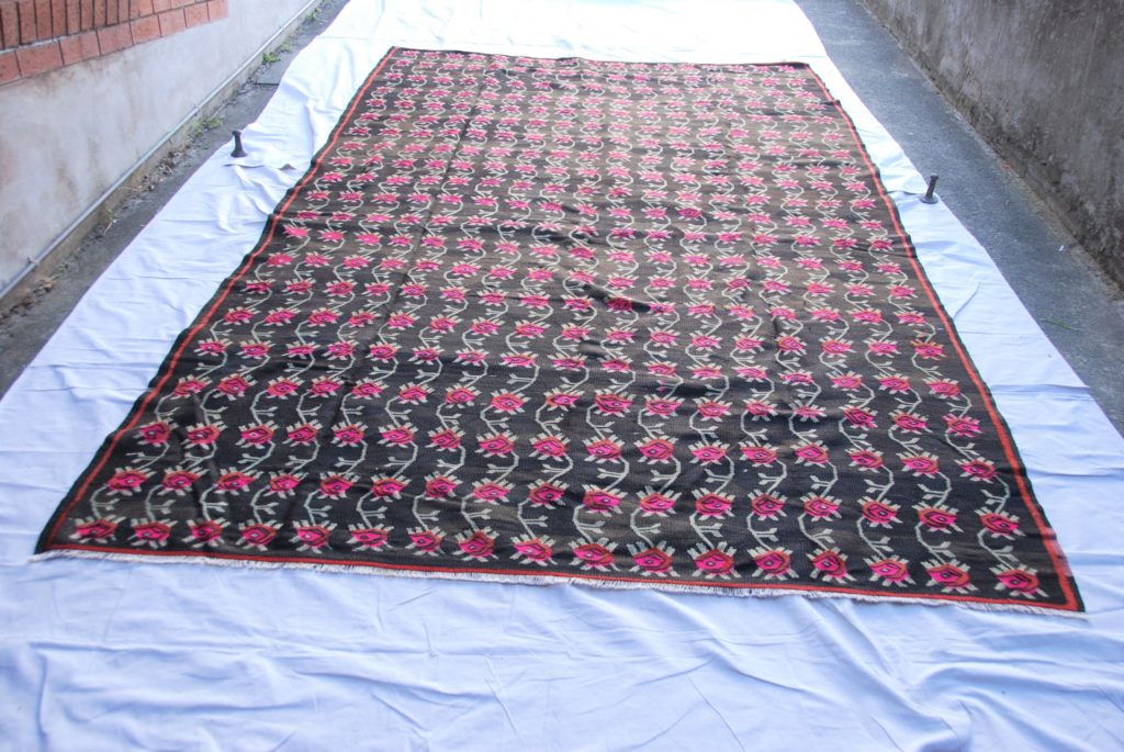 T803 Turkish Bayburt Kilim hand knotted wool on cotton approximately 70 years old 3.6 x 2.16 $1,595.00