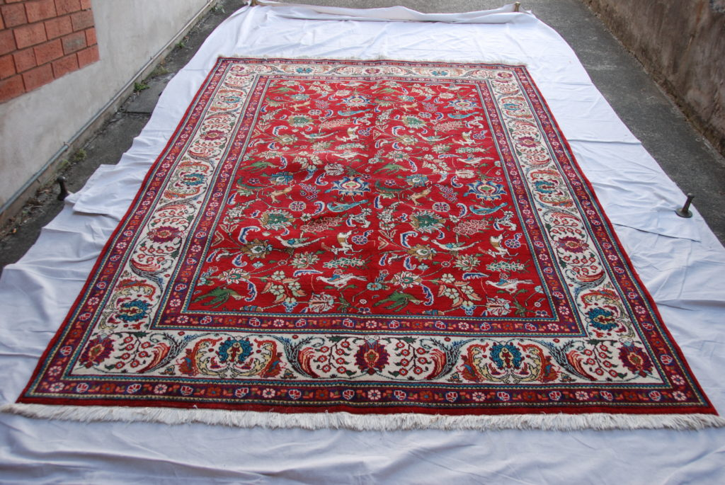 T805 Persian Tabriz hand knotted wool on cotton carpet 3.1 x 2.05  approximately 40 years old $2,385.00