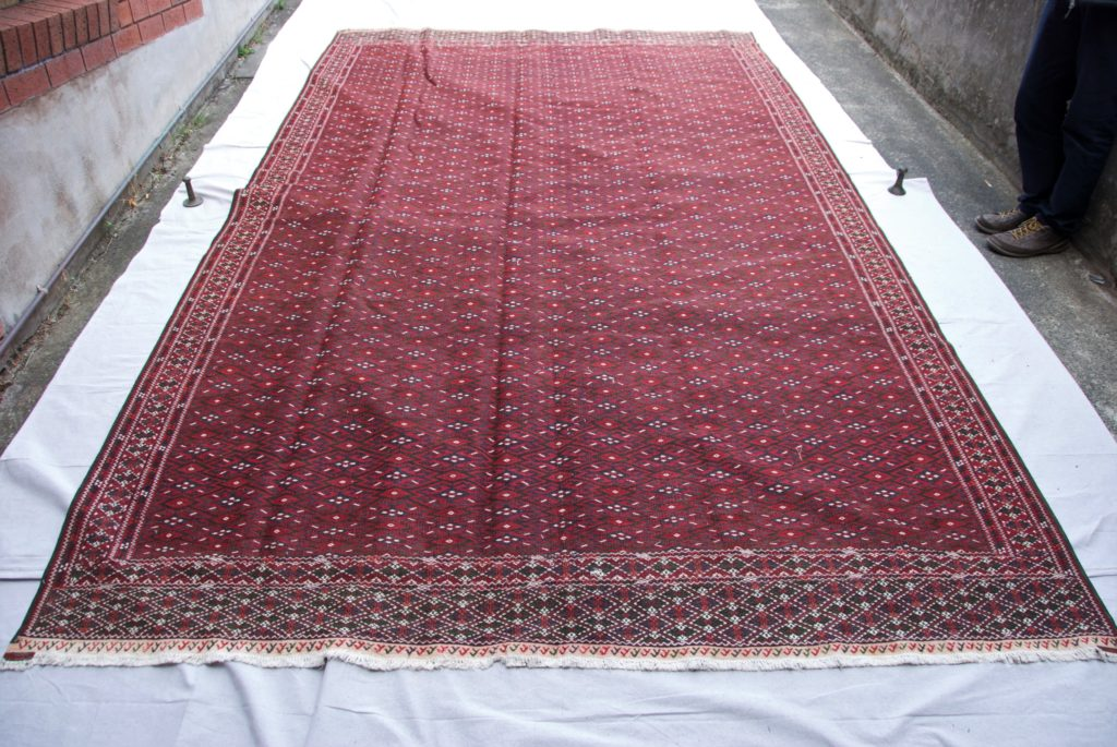 T834 Turkoman Yomut tribe hand knotted wool on cotton Soumac Kilim approximately 40 years old 3.78 x 2.22 $1,895.00