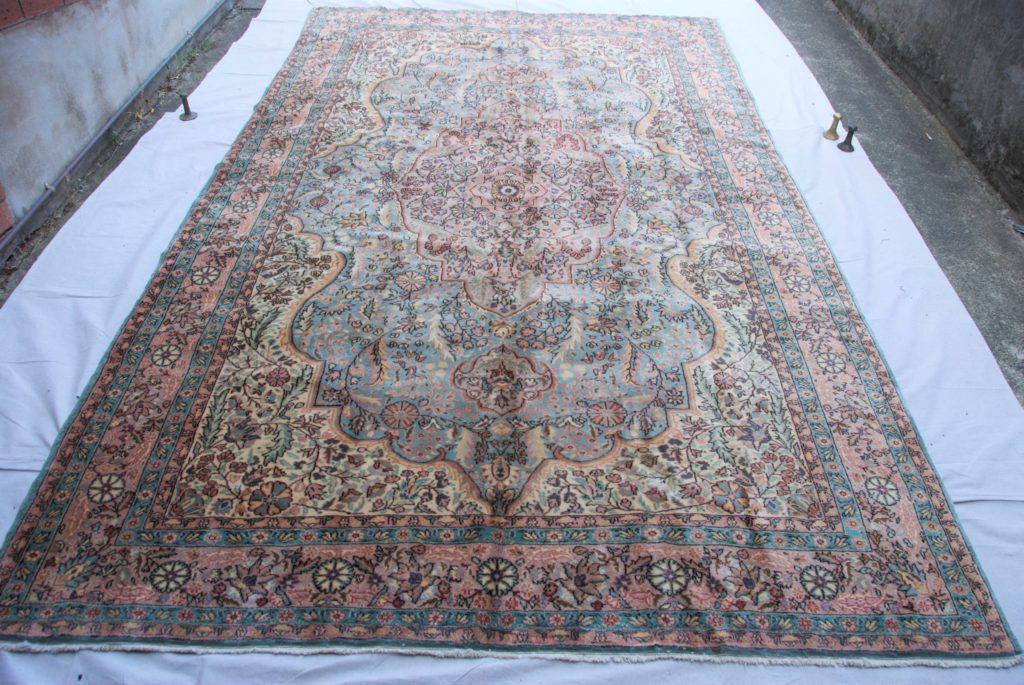 T839 Turkish Konya Ladik carpet hand double knotted wool on cotton approximately 50 years old 3.43 x 2.04 $2,985