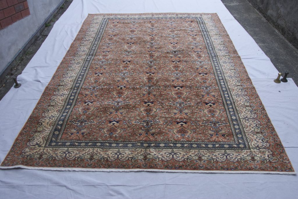 T854 Turkish Kayseri carpet hand double knotted wool on cotton approximately 60 years old 2.99 x 1.99 $1,985.00