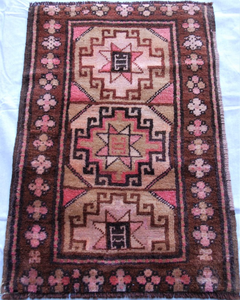 T746 Kars  hand double knotted wool on wool carpet approximately 60 years old 0.83 x 0.575 $295.00