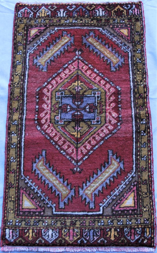 T747 Konya hand double knotted wool on wool carpet approximately 60 years old 0.765 x 0.44 $245.00