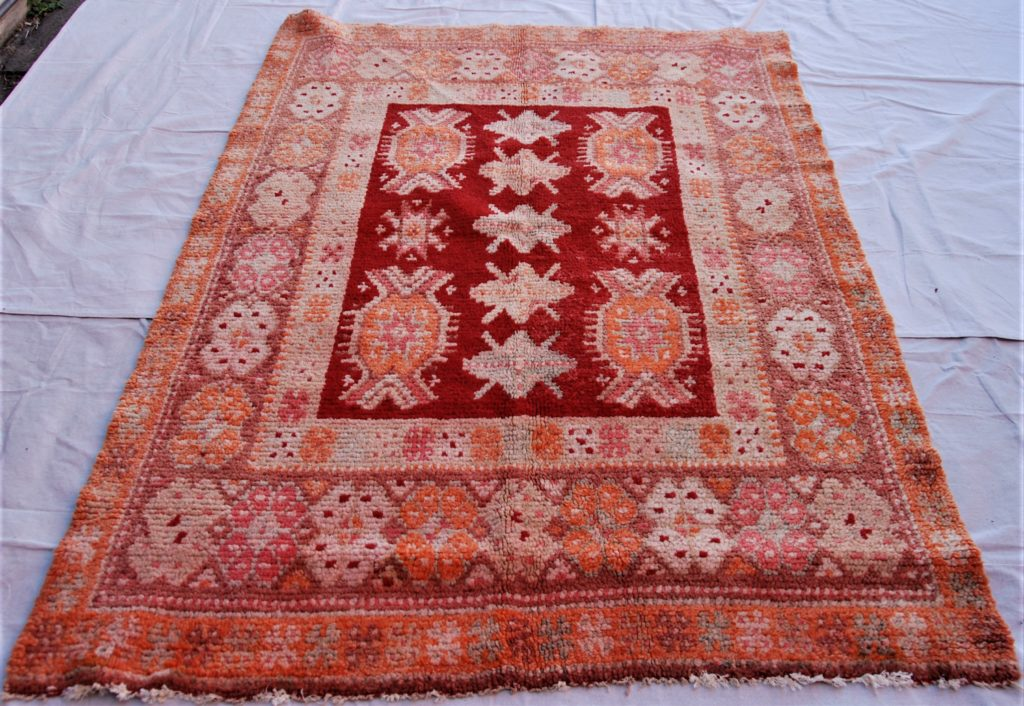 T778 Bulgarian hand knotted wool on wool carpet approximately 60 years old 1.77 x 1.25 $985.00