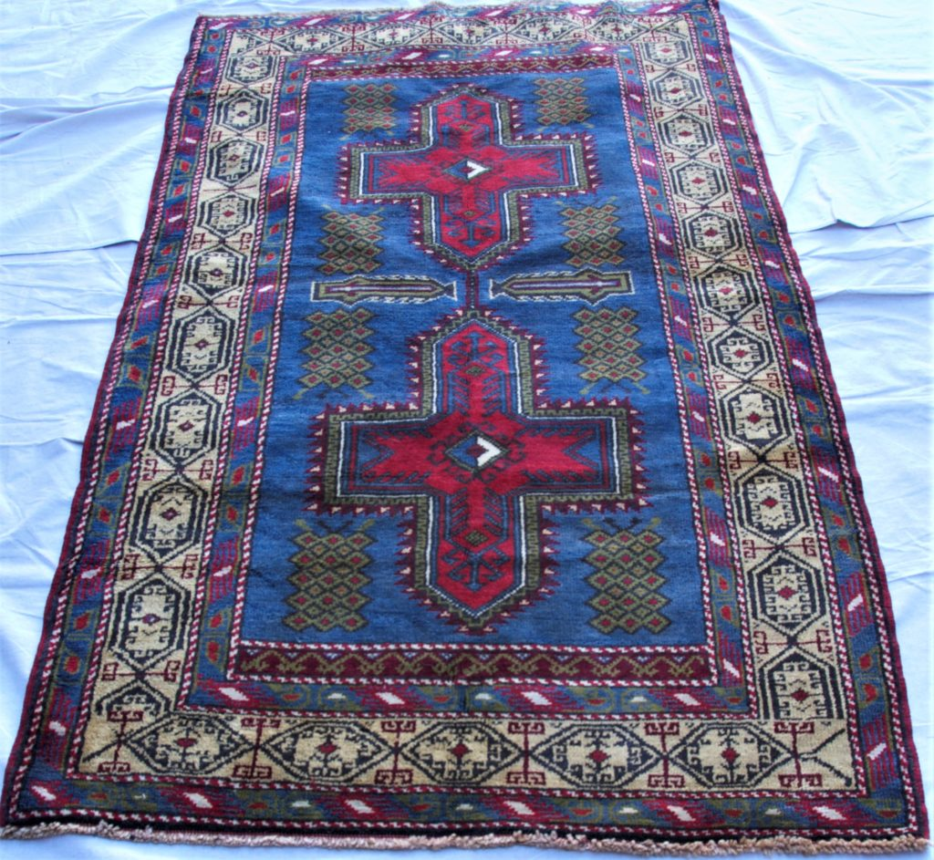 T807 Konya Eredi Kazak design hand double knotted wool on wool carpet approximately 50 years old 1.95 x 1.11 $1,395.00
