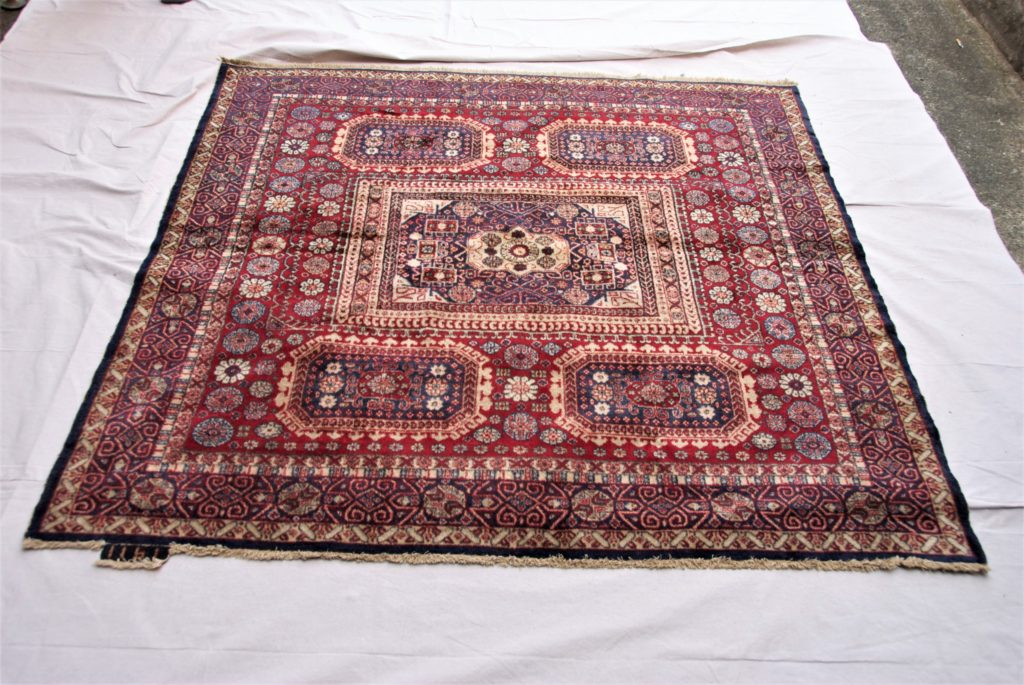 T821 Turkish Burdur double hand knotted wool on cotton carpet dated 1911 1.70 x 1.62 $2,485.00