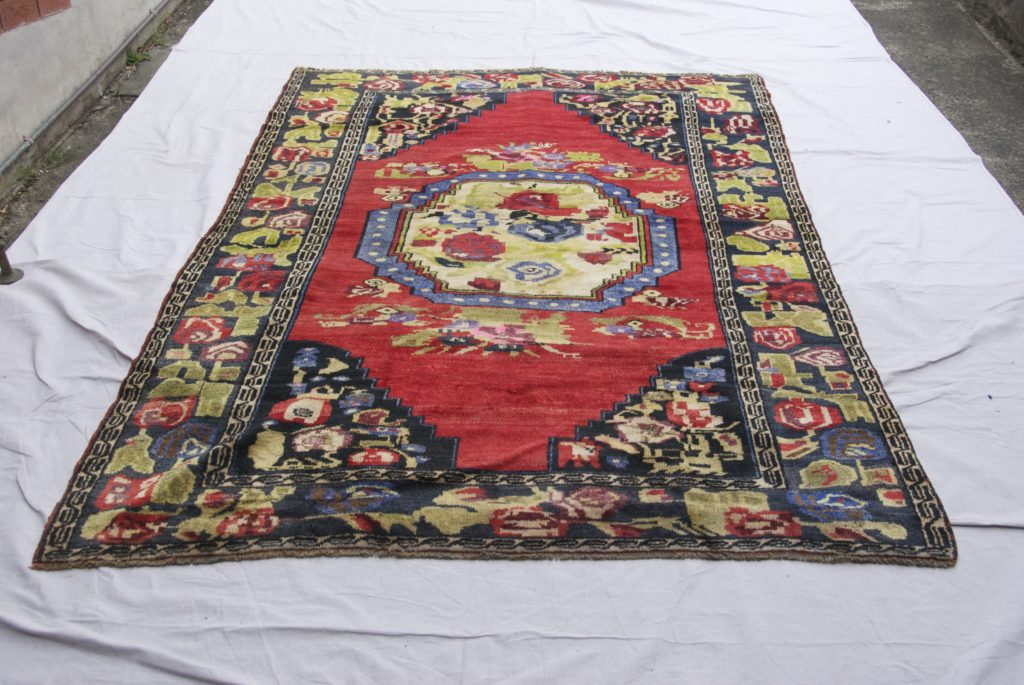 T825 Konya Karapinar hand double knotted wool on wool carpet approximately 70 years old 2.43 x 1.67 $1985.00