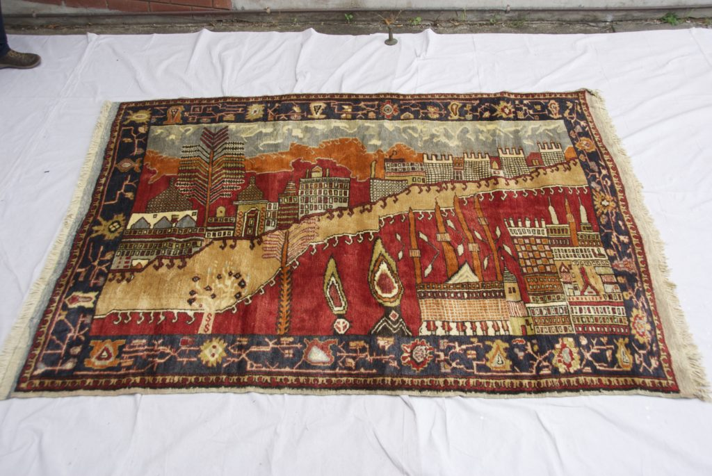 "T830 Konya Karapinar hand double knotted wool on wool ""Village Scene"" carpet approximately 60 years old 1.68 x 2.30 $2,985.00"