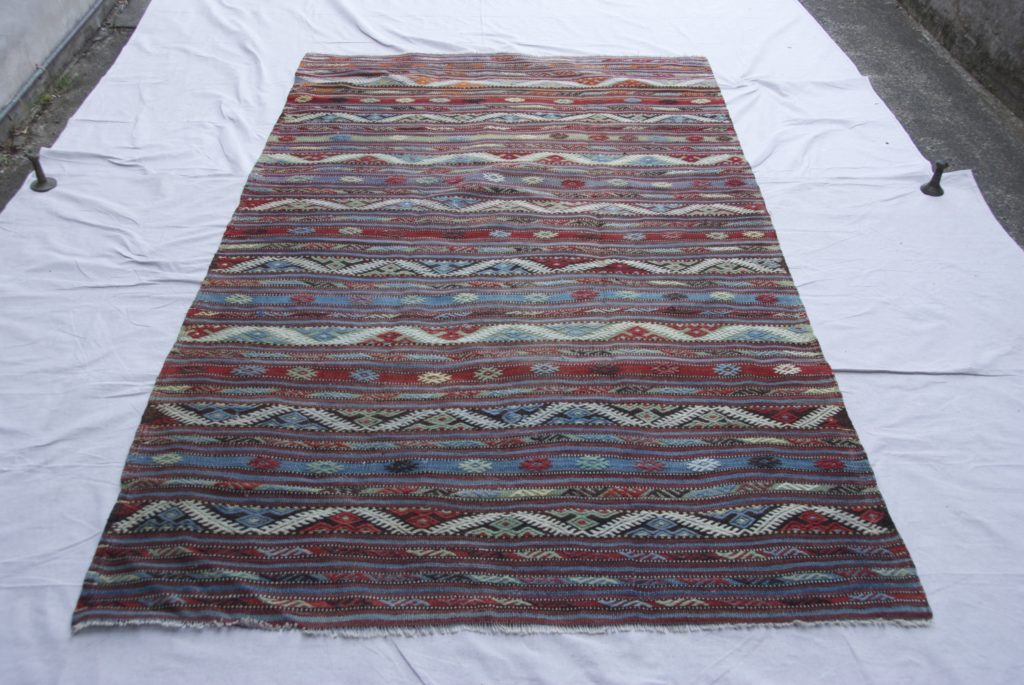 T 832 Turkish Konya (south of Taurus Mountains) embroidered wool on wool kilim approximately 40 years old 2.41 x 1.47 $895.00