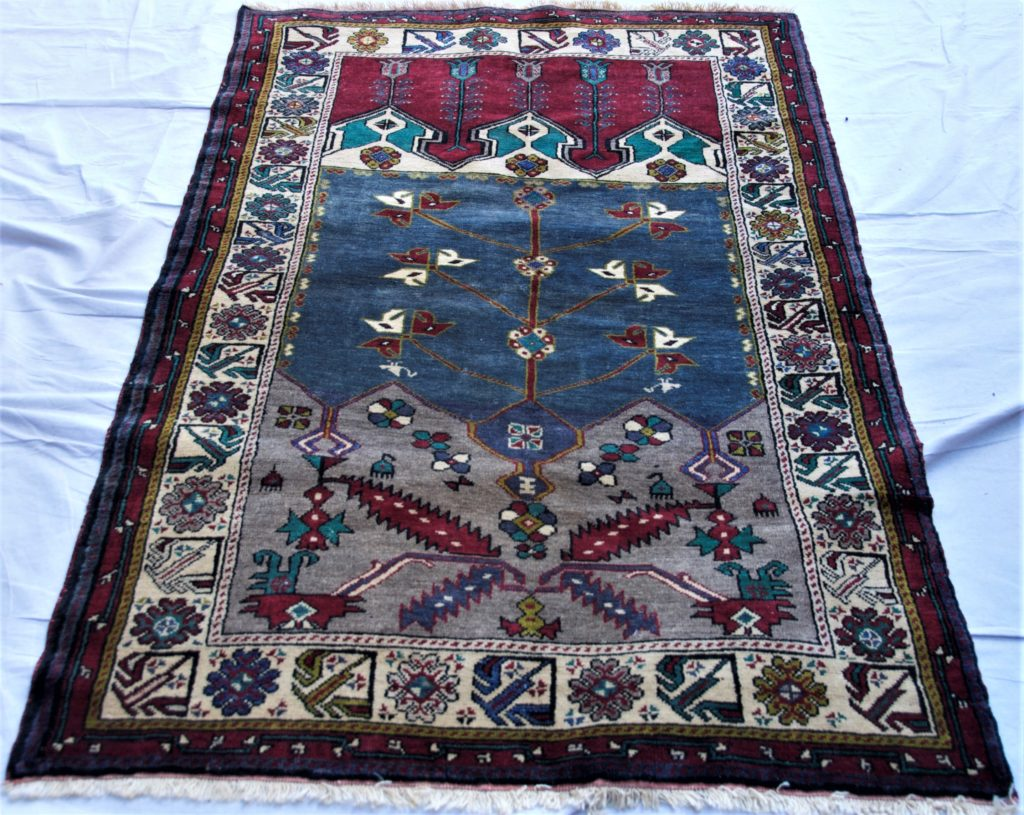 T846 Konya Indige niche hand double knotted wool on wool carpet approximately 40 years old 1.88 x 1.17 $985.00