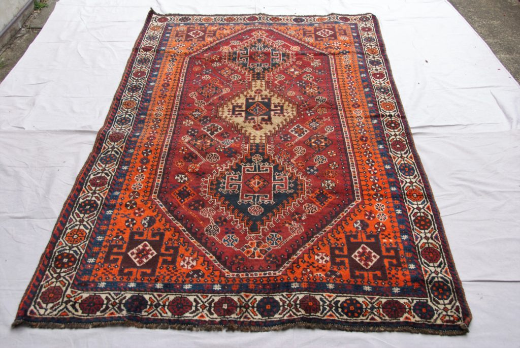 T857 Persian Shiraz wool on wool hand knotted carpet approximately 50 years old 2.47 x 1.41 $1,185.00