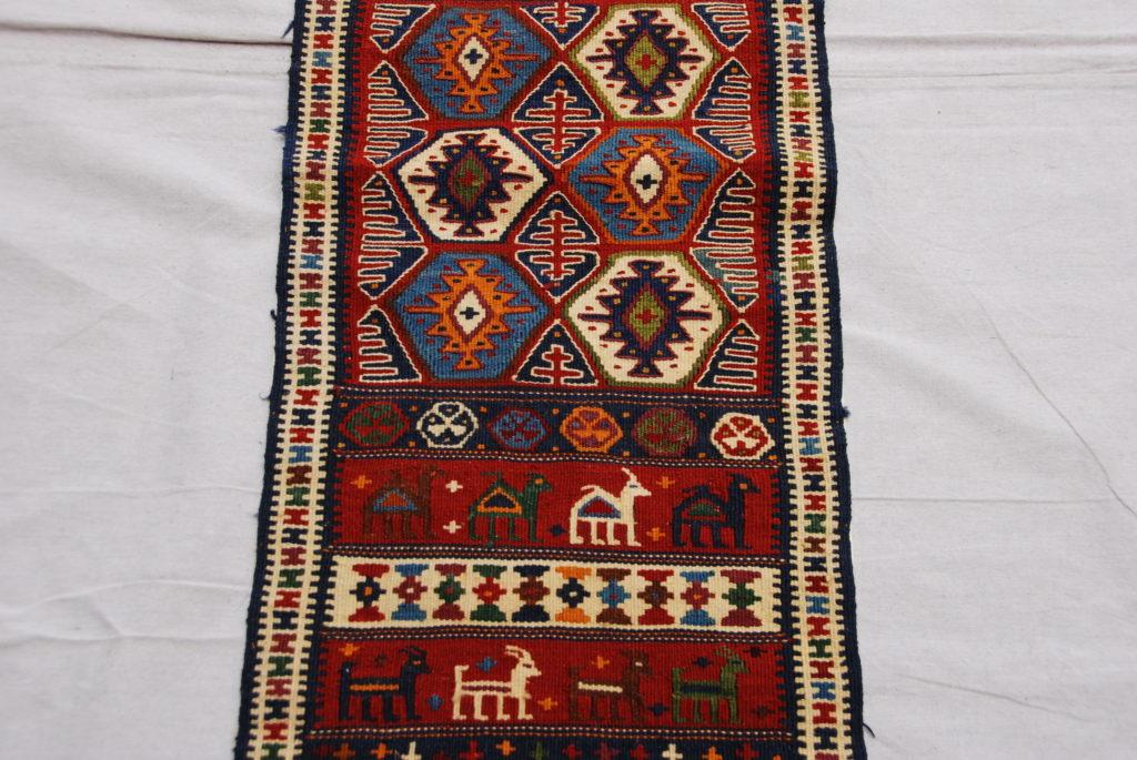Hand woven & knotted wool on wool Soumac from Kurdish  Iran, Kochan 20-30 years old 1.96 x 0.38 $445.00