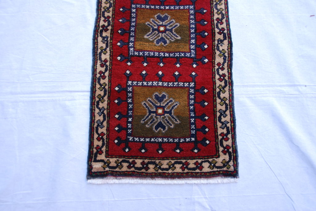 Adana Nomadic Turkish hand woven and knotted wool on wool carpet approximately 50 years old 1.02 x 0.48 $295.