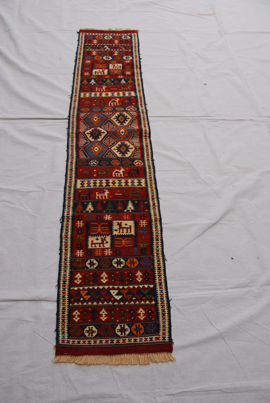 Hand woven & knotted wool on wool Soumac from Kurdish Iran, Kochan 20-30 years old 1.96 x 0.38 $445.00