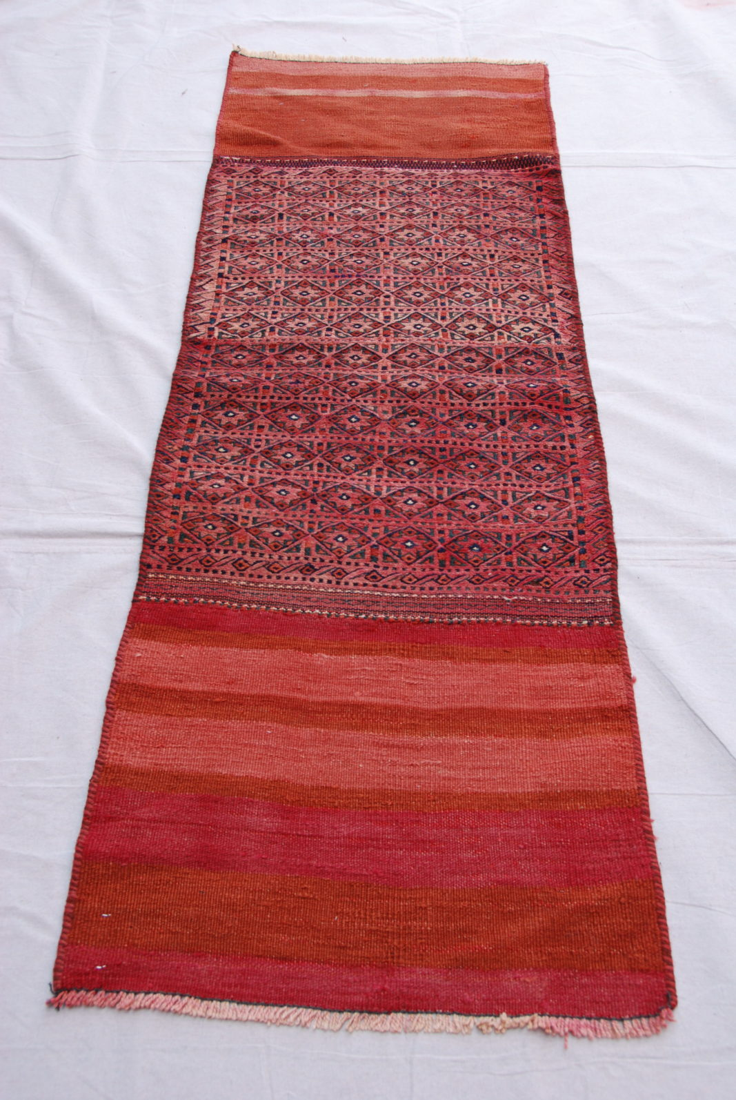 Hand knotted and woven wool on wool North Iranian Besich runner 50-60 years old 1.78 x 0.62 $575