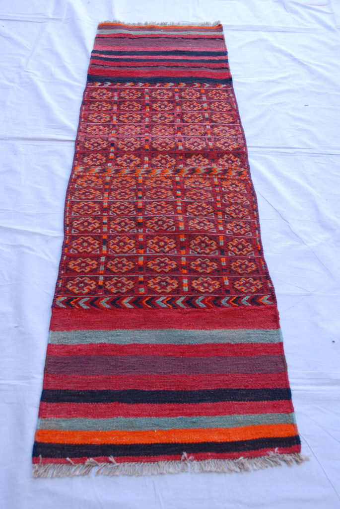 Hand knotted and woven wool on wool North Iranian Besich soumac & kilim   50-60 years old 1.95 x 0.58 $575.00