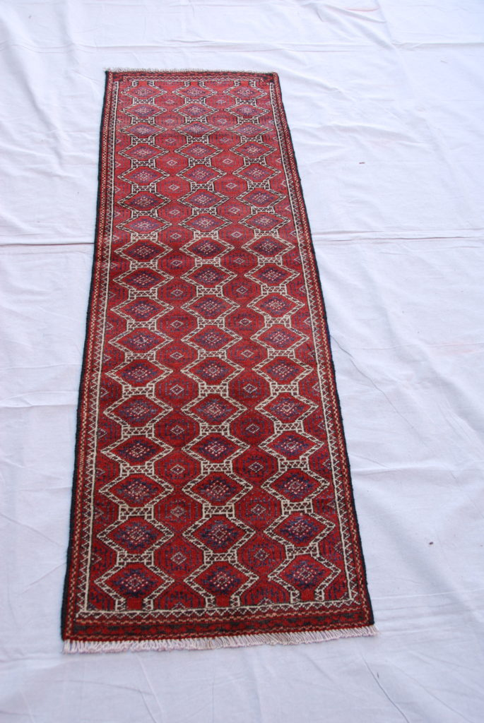 Timur hand woven and knotted wool on wool runner 60-70 years old 1.63 x 0.52 $695