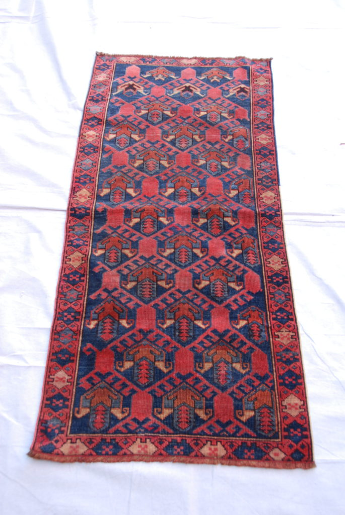 North West Iranian Shirvan, Azerbaijan, hand woven and knotted wool on wool runner 100 years old 1.29 x 0.60 $595