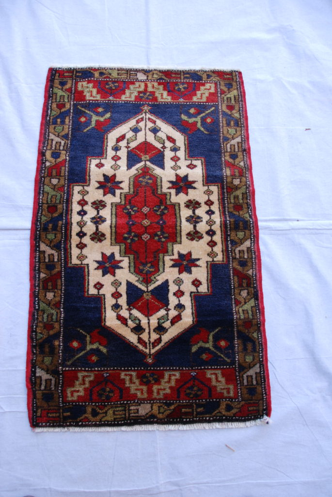 Turkish hand woven and knotted wool on wool carpet from Tashpinar 40 years old 0.95 x 0.58 $295