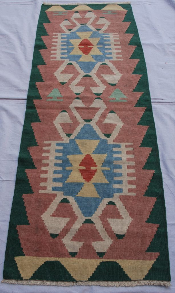 Turkish Kayseri hand woven wool on wool kilim 20-30 years old 1.69 x 0.61 $245