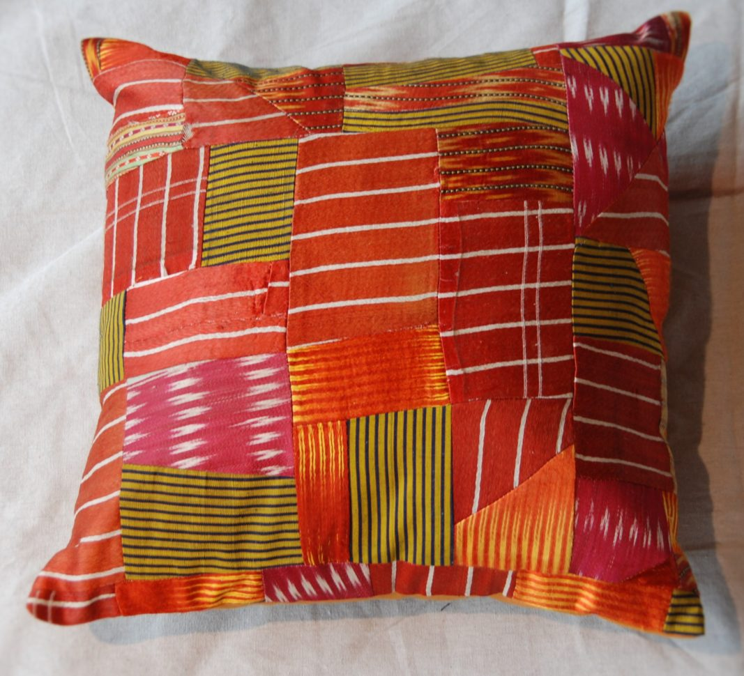Turkish antique silk patchwork cushion #1