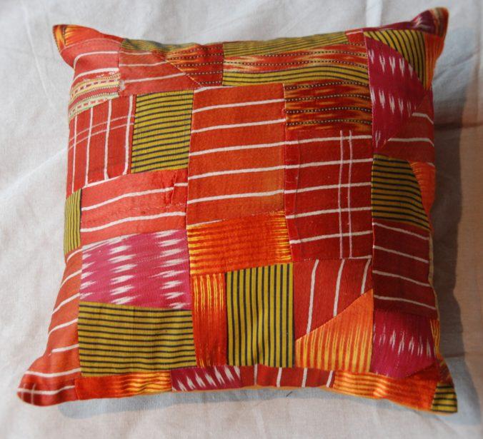 Turkish antique silk patchwork cushion #1